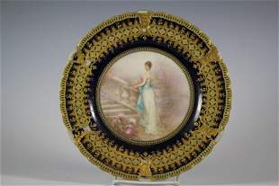 19th Century French Limoges Porcelain Plate by