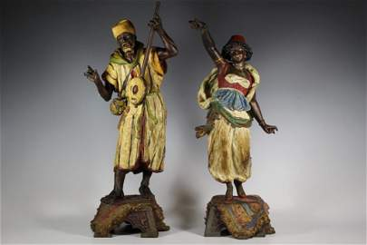Pair of Austrian Blackamoor Cold Painted Statues