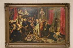 19th Century French Genre Oil Painting on Board, Signed
