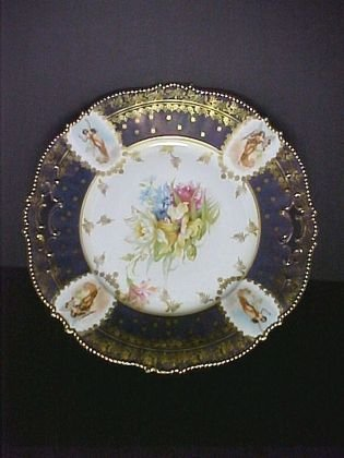 """1: Unmarked French 11"""" Cobalt and Gold Plate"""