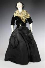 """1860's Kister Jenny Lind China Head Doll 26"""""""