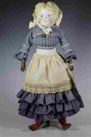 "22"" German ""Kling"" Blonde Curly China Head Doll"
