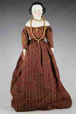 "22"" Flat Top German China Head on Cloth Body Doll"