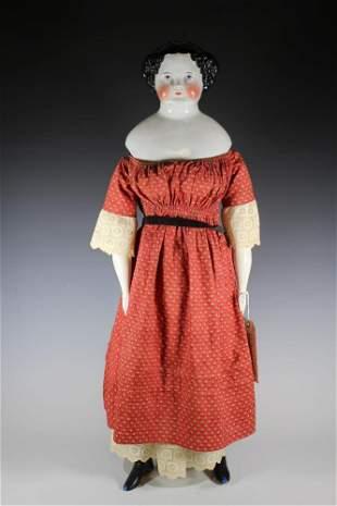 "33"" German High Brow Flat Top China head Doll Circa"