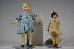"""Two 6"""" & 5"""" All Bisque German Flapper Dolls"""