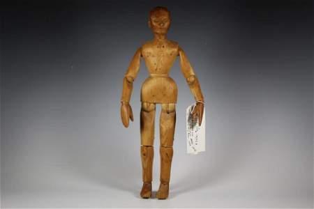 """19"""" Carved All Wood Artist Model Mannequin Doll Full"""