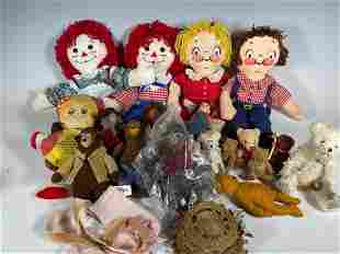Group of Vintage Dolls and Stuffed Animals