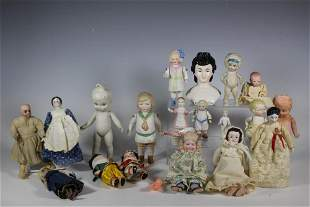 Collection of 20 Various Bisque Dolls and More