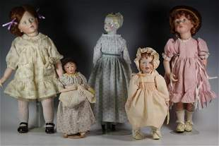 Collection of Porcelain and Bisque Head Dolls