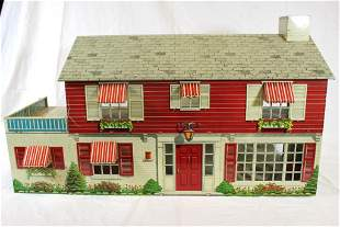 Marx Large Red Tin Litho 2 Story Dollhouse with
