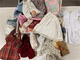 Vintage Doll Clothes and Textiles in Traveling Trunk