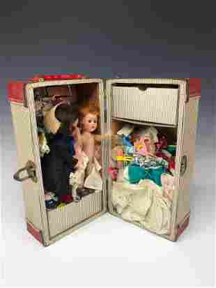 Vintage Doll Suitcase Carrying Case Filled w Dolls and