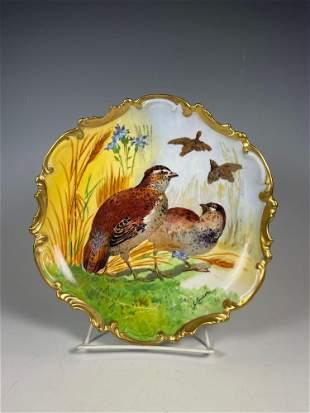 Signed Limoges French Porcelain Birds Plate