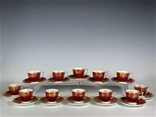 Set of Twelve MINTON Demitasse Cups and Saucers