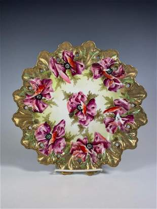 Wheelock Japan Hand Painted Floral Cabinet Plate