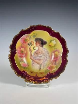 19th Century HP Woman German Berry Bowl