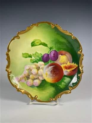 Signed Barbet French Limoges Fruit Still Life Plate