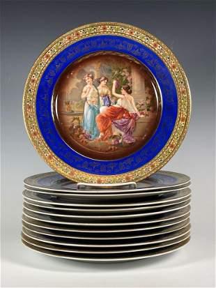 Twelve Czech Decorator HP Plates
