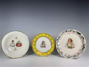 Three Antique Porcelain Portrait Cabinet Plates