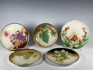 Five Antique Porcelain Painted Fruits Cabinet Plates