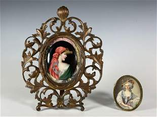19th C. Hand Painted Portrait Plaque & Hand Colored