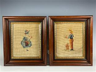 Two Victorian Walnut Frames w Needlework