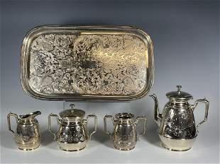 Meriden Aesthetic Silver Plate Tea Service Set with