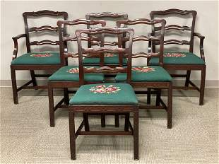 Set of Six 19th C. Chippendale Style Chair w