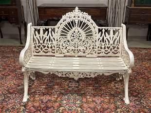 Highly Ornate Cast Iron Iron Garden Bench