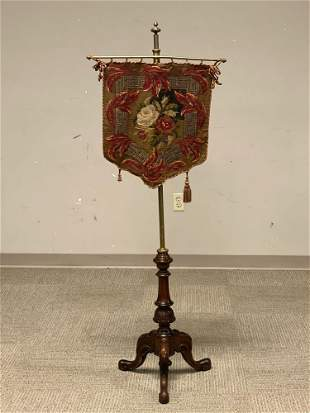 19th C. Carved Chippendale Adjustable Pole Fire Screen