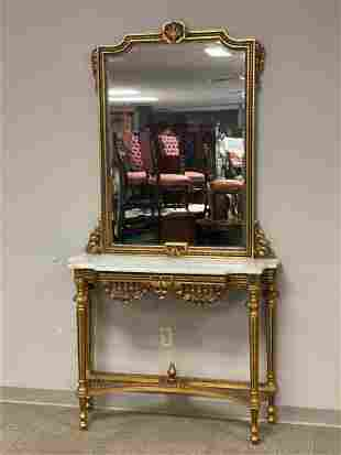 Gold Gilt Italian Marble Top Counsel Table With Mirror