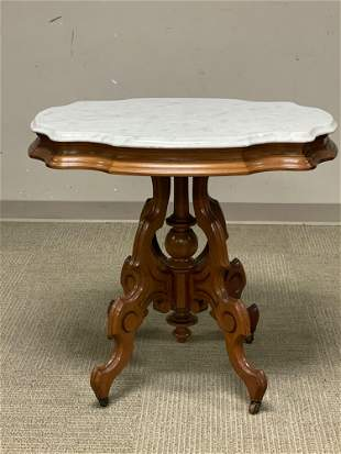 American Victorian Walnut Table with Marble Top
