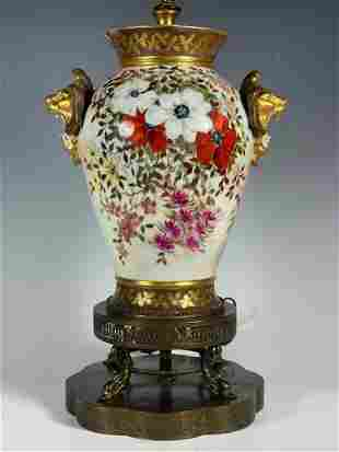 Hand Painted Limoges Porcelain Lamp