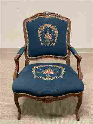 19th Century French Influenced Needlepoint Arm Chair