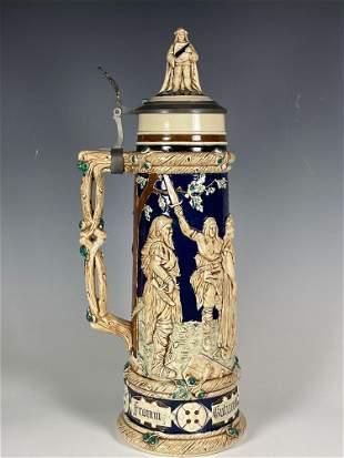 Large 3 Liter German Stoneware Stein Tankard Circa 1900