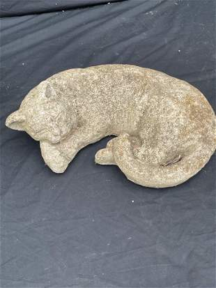 Sleeping Cat Stone Garden Statue