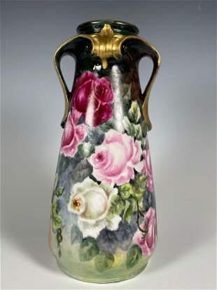 Unmarked French Limoges Pink Rose Vase