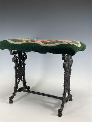 19th c. Victorian Wrought Iron Bench w Lions