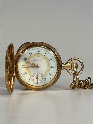Ladies American Waltham 14k Gold Pocket Watch and Chain