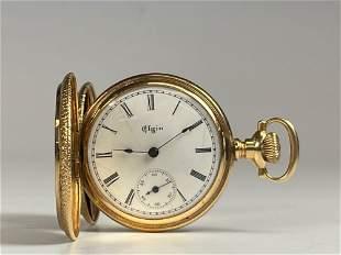 14k Yellow Gold ELGIN Closed Face Ladies Pocket Watch