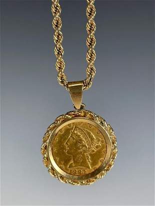 1883 Five Dollar Gold Coin on 14k Gold Rope Chain