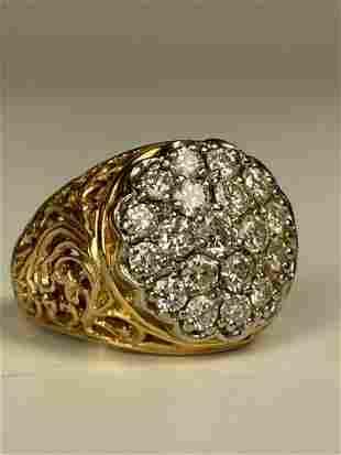 European 14k Gold Diamond Cluster Ring