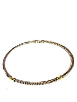 David Yurman Metro Cable Choker 14k Gold Sterling
