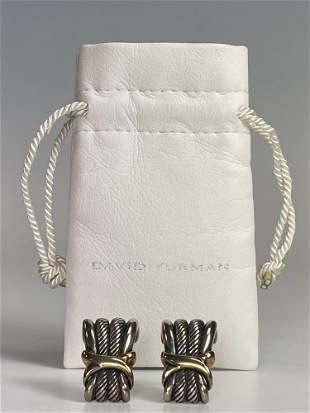 Pair of David Yurman Sterling and Gold Earrings