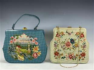 Two Vintage Needlepoint Ladies Hand Bags