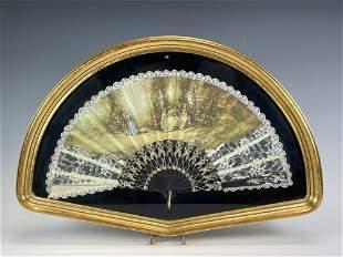 Shadow Box Framed Vintage Ladies French Hand Fan