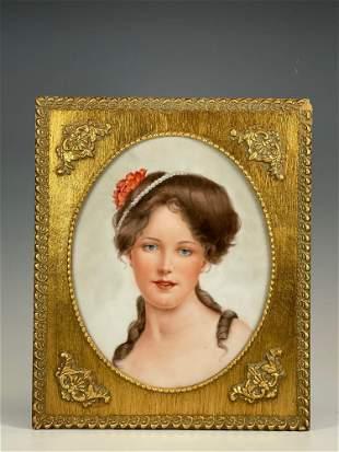 French Hand Painted Porcelain Portrait Plaque