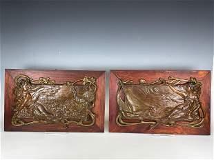 Pair Bronze Art Nouveau Mounted Wall Plaques