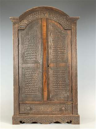Carved Art and Crafts Era Wall Mounted Two Door Cabinet