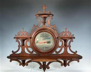 Ornate Victorian Carved Walnut Wall Shelf with Mirror